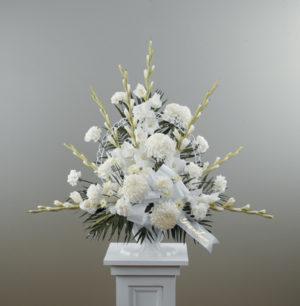 Dignity in White Pedestal Arrangement